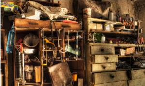 Messy garage scene