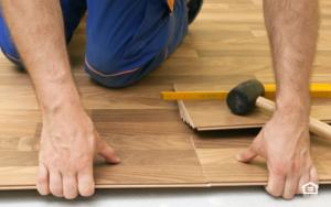 Vinyl plank flooring installation.