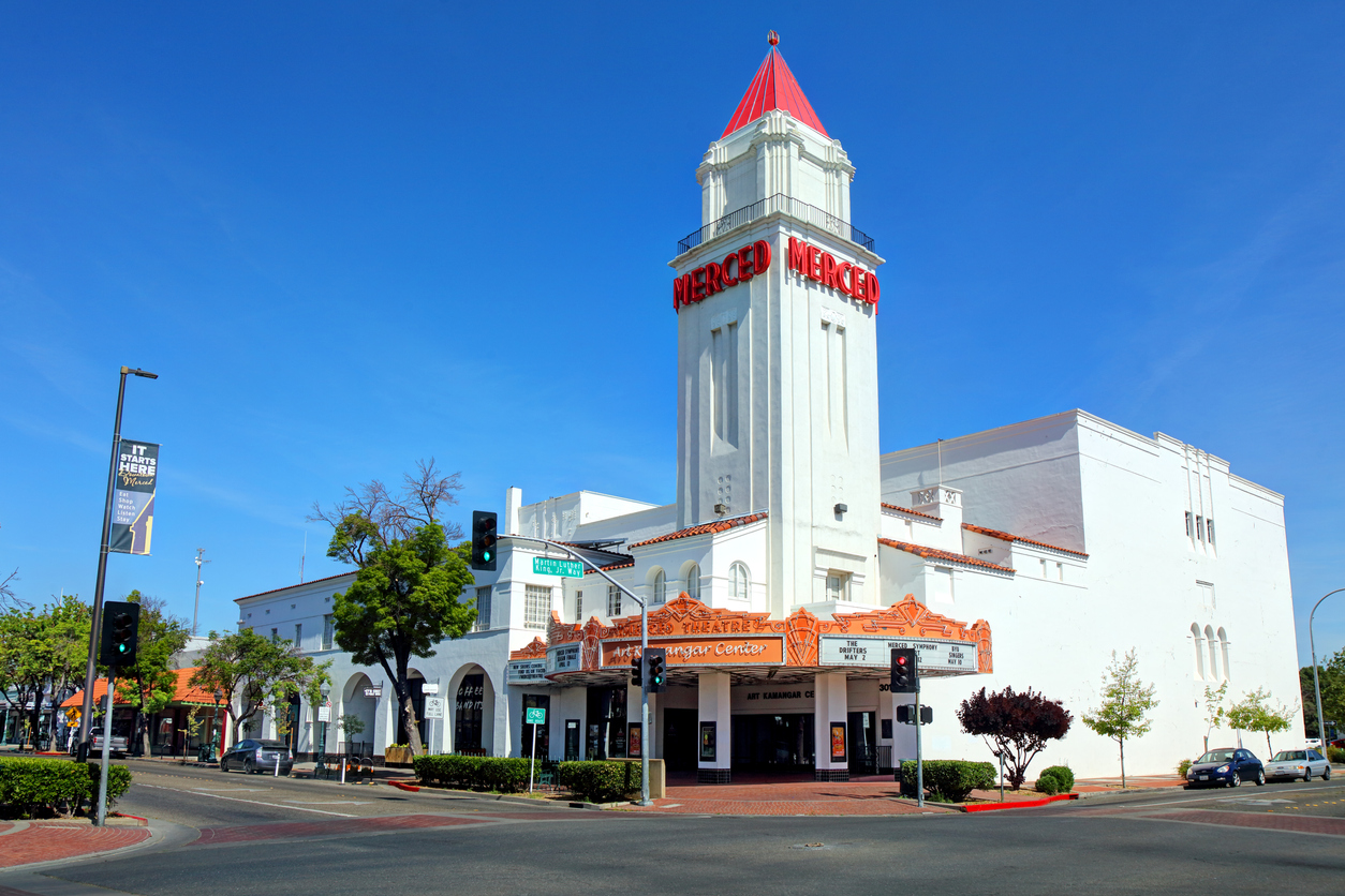 Daytime view of the Merced Theatre along W. Main Street in the downtown district