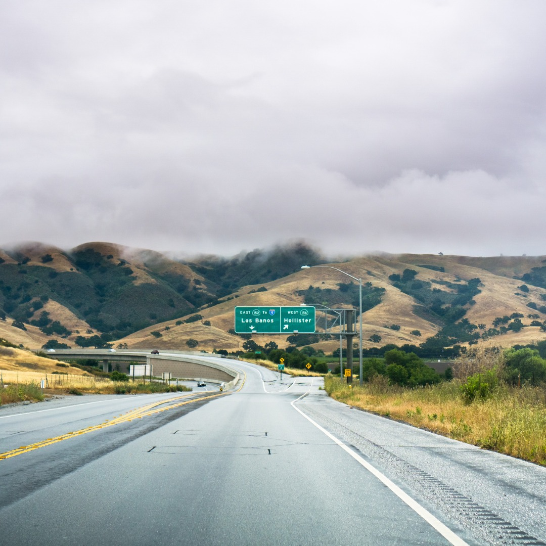 View of the Highway in the Hills of South San Francisco Bay