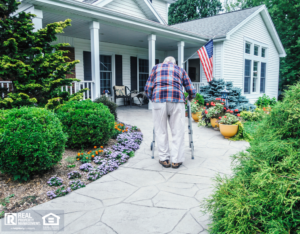 Elderly Merced Man Walking Up the Path to the Front Door