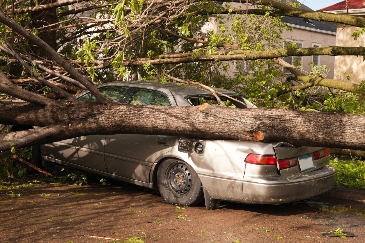 A Resident's Car Has Been Damaged by a Natural Disaster in San Antonio
