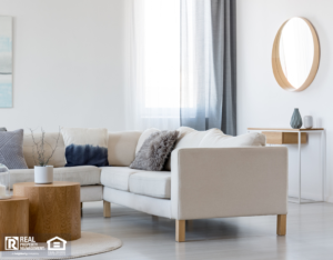 Fully Furnished Living Room with White Couch