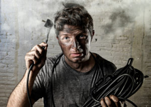 Man Covered in Ash after Making Electrical Repair Himself