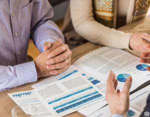Arlington Heights Couple Meeting with a Financial Advisor