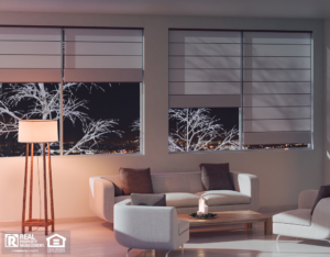Mount Prospect Living Room in the Evening with Beautiful Shades