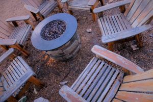 John's Creek Rental Property with a Firepit Installed in the Backyard