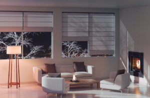 Winston-Salem Living Room in the Evening with Beautiful Shades