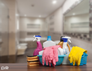 Cleaning Supplies as the Focal Point of a Bathroom in a Yorktown Rental Home