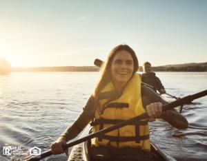 Canyon Country Woman Wearing a Lifejacket while Kayaking