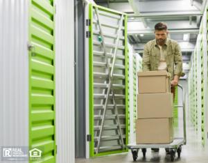 Stevenson Ranch Man Moving Boxes into a Storage Unit
