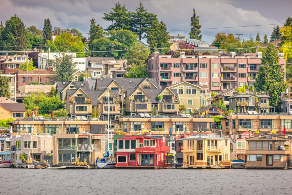 Residential district on the shores of Lake Union WA