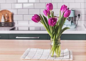 Glass Jar Vase with Flowers in a West Richland Rental Kitchen