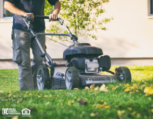 Park Ridge Tenant Mowing the Lawn in Fall
