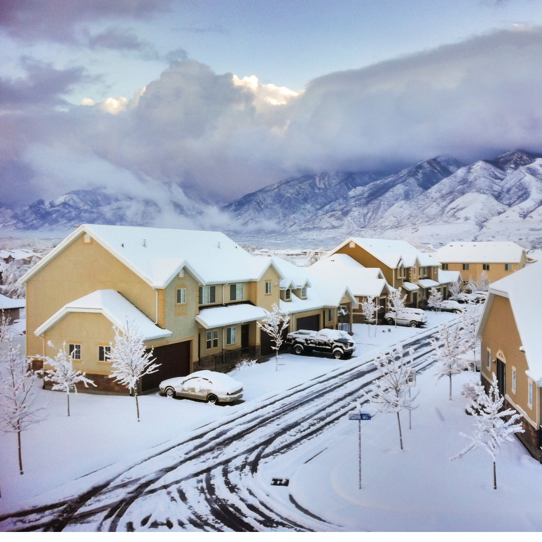 Utah neighborhood after a snowstorm