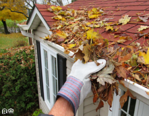 Logan Rain Gutter Full of Leaves Being Cleaned Out