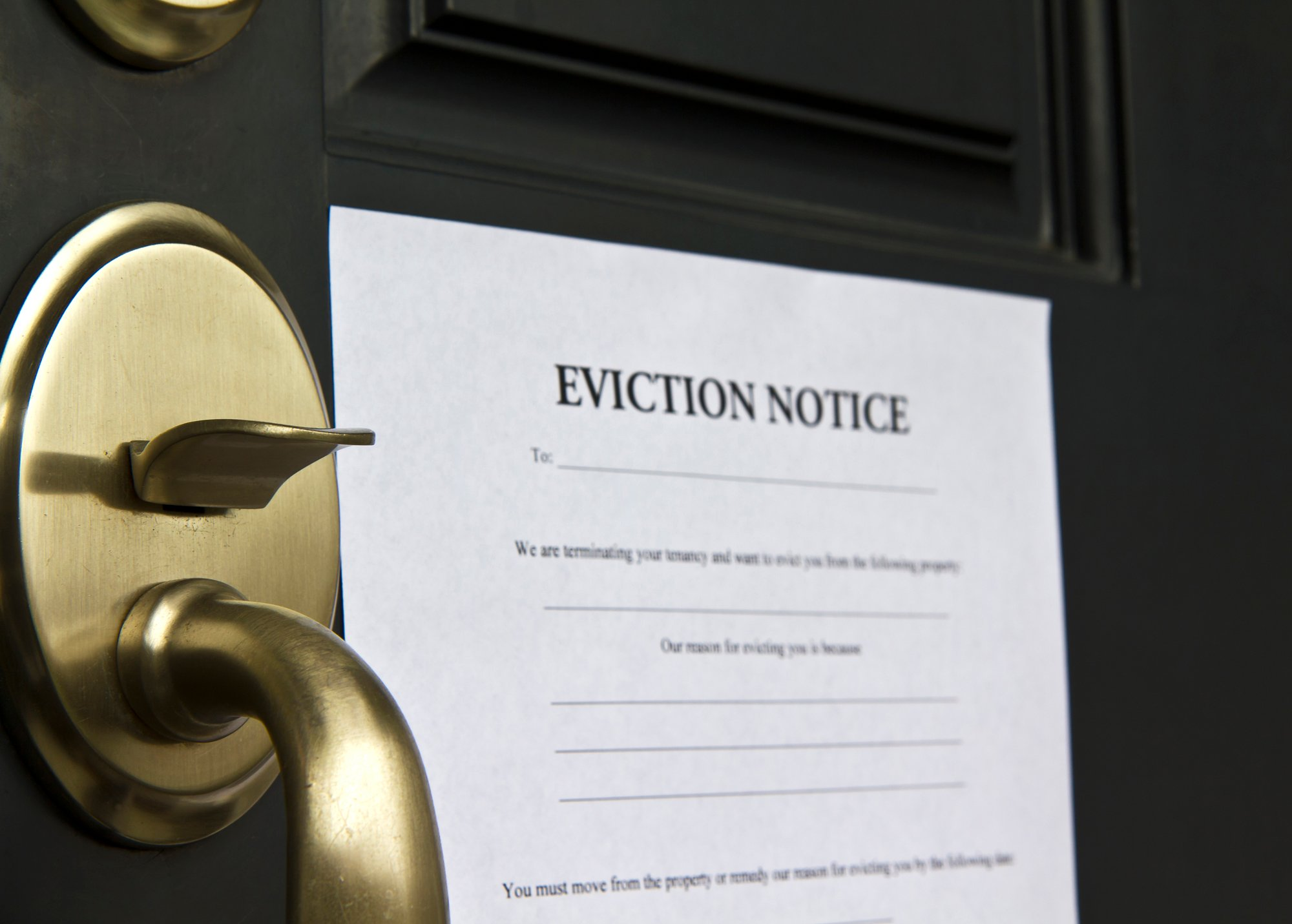 eviction notice posted on door