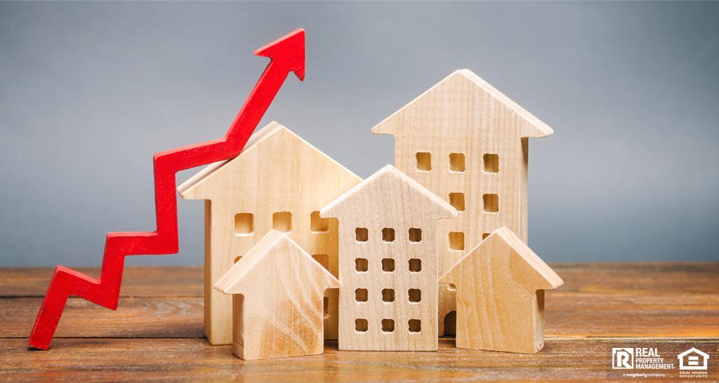 Model Houses and an Upward Trend Arrow