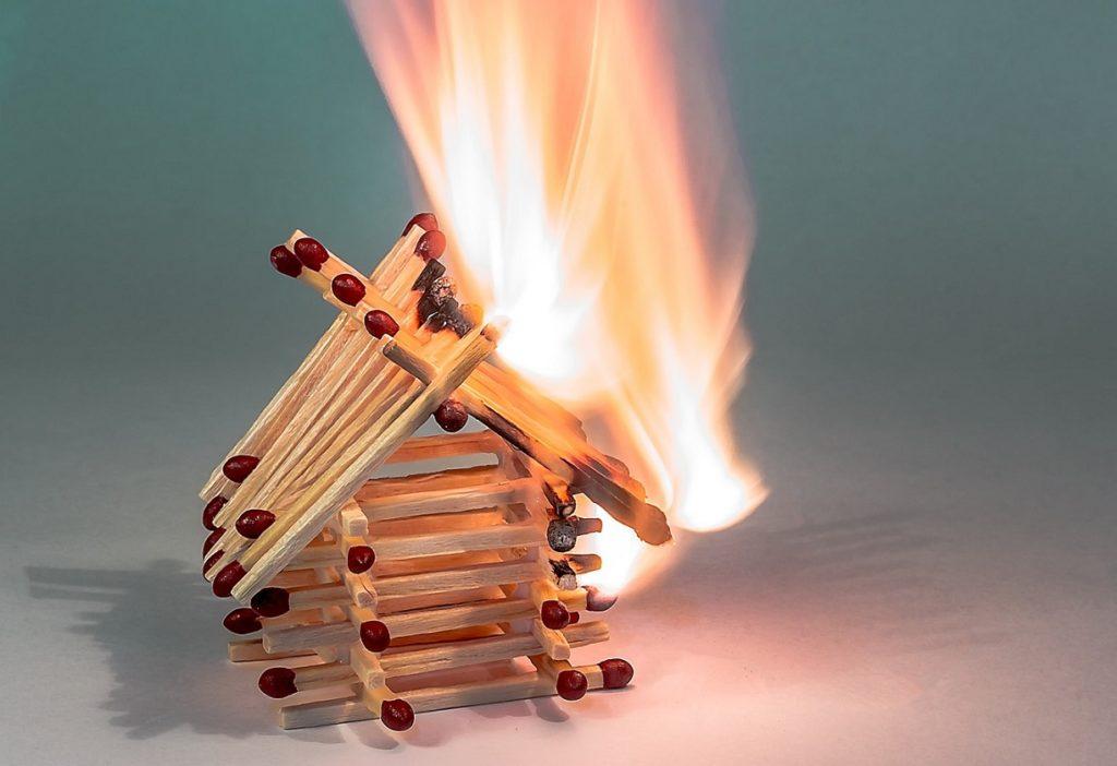 Burning Matchstick House