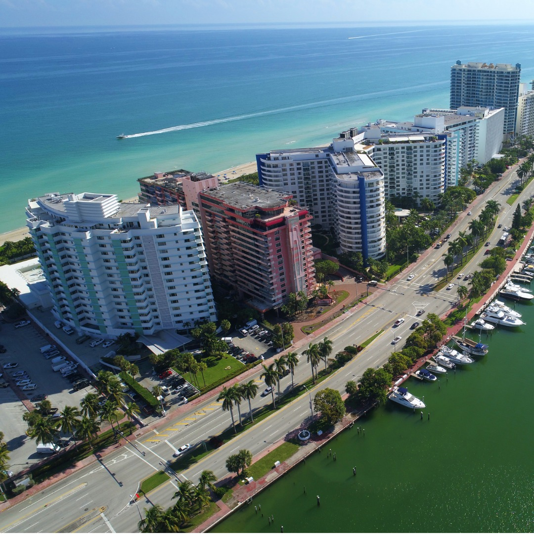 Aerial View of Miami Beach and Indian Creek