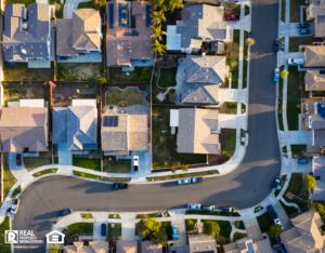 Aerial View of a Residential Neighborhood in CA