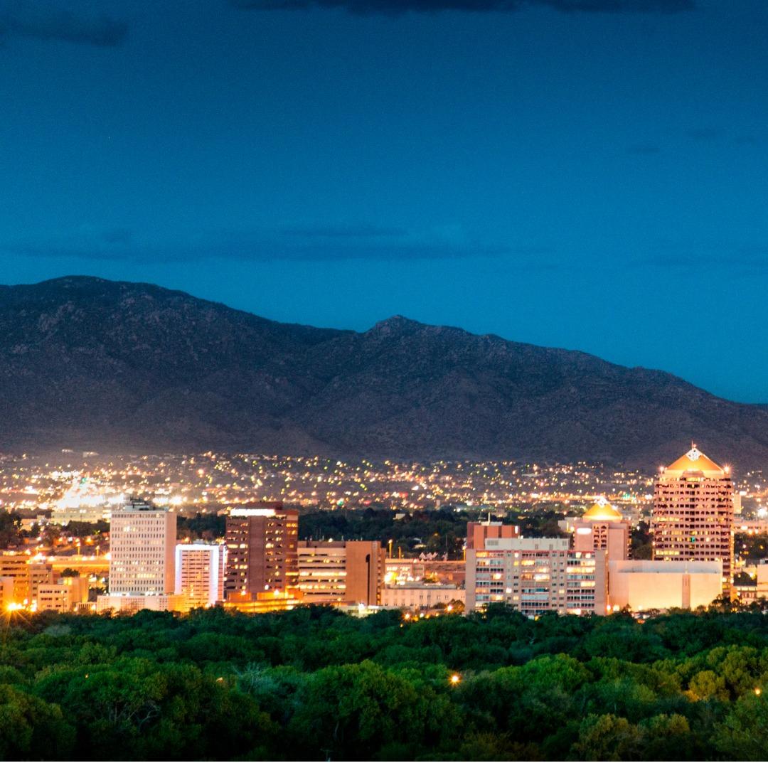 Albuquerque, New Mexico, skyline at dusk