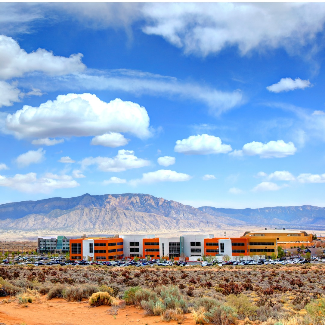 Colorful buildings in downtown Rio Rancho, New Mexico