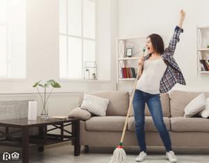 Los Lunas Woman Tidying the Living Room