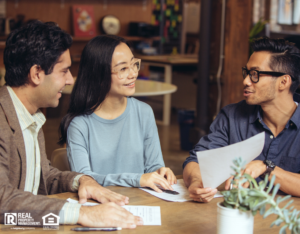 Couple Discussing Lease Agreement with Landlord