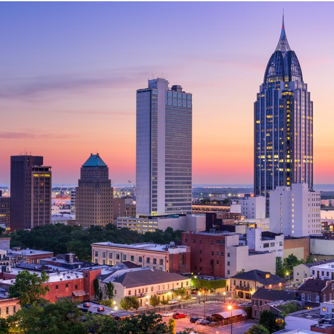 Mobile, Alabama, skyline at dusk