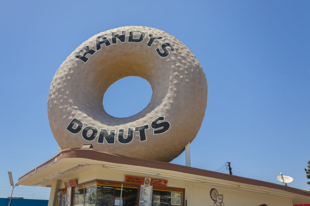 Los Angeles, USA - June 22, 2013: Randy's Donuts in Los Angeles. Randy's Donuts is a landmark building in Inglewood, California.