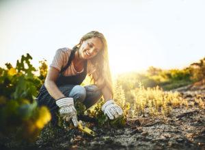 Carson Woman Gardening in Her Backyard