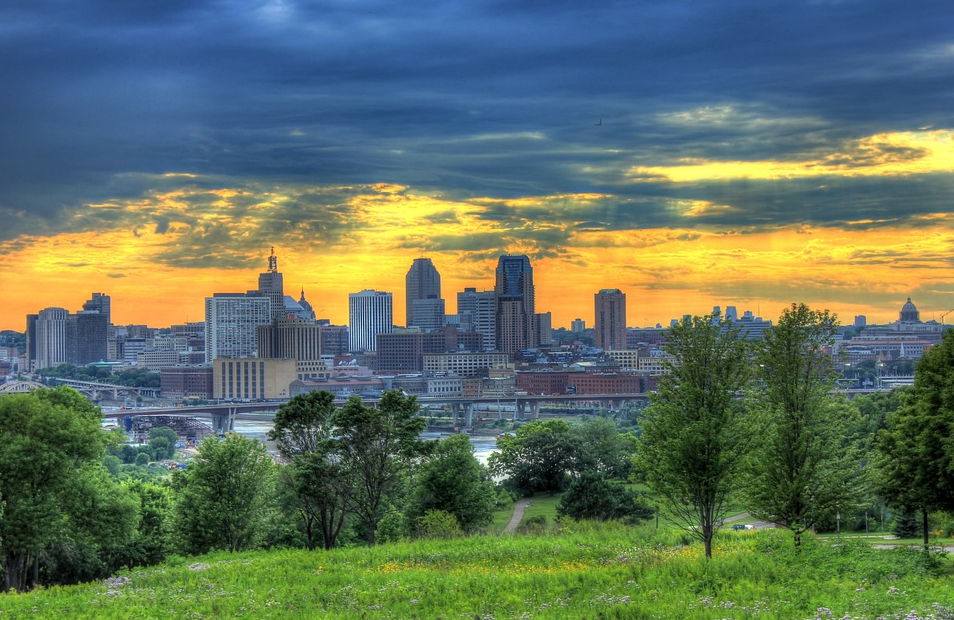 A View of the Minnesota City at Dusk
