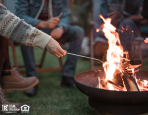 Tenants Roasting Over a Fire Pit at a Bridgewater Rental Property