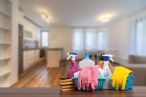 Clean Milford Rental Home Living Room with Cleaning Supplies
