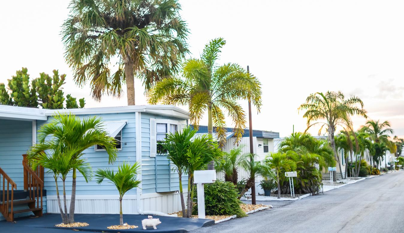 Community of Trailer Mobile Homes in Sunny Neighborhood