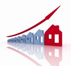 illustration of arrow increasing over a series of houses denoting growth