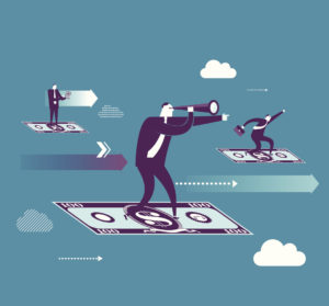 illustration of paper money being ridden by business men like magic carpets