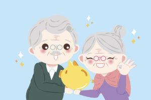 Cartoon Older Couple Holding a Piggybank
