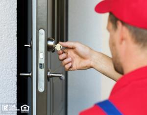 Professional Locksmith Re-keying a Garner Rental