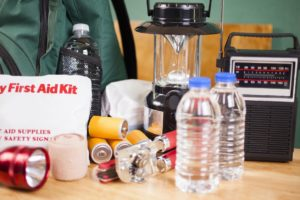 Emergency Supplies for a Natural Disaster Set Out on a Table