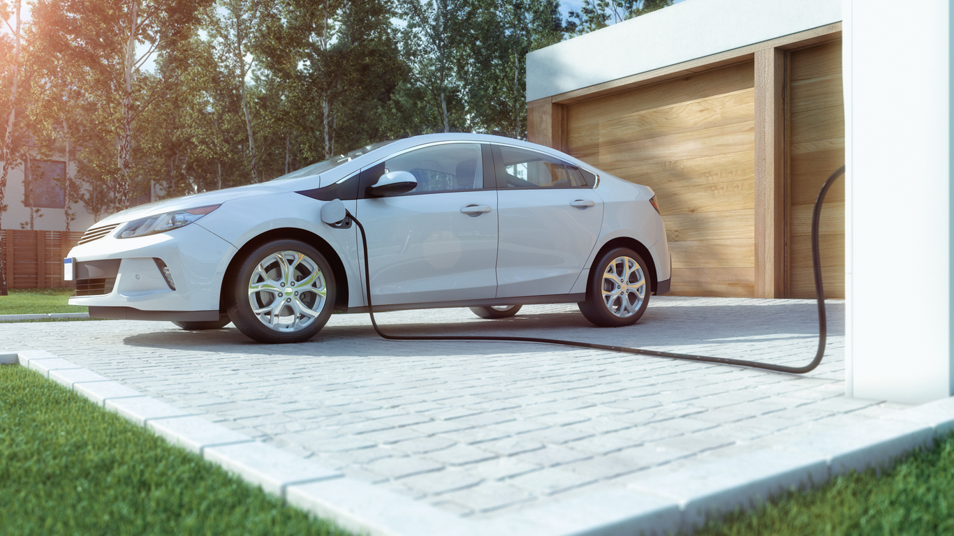 Electric Plugged into a Charging Station at a Salt Lake City Rental Property