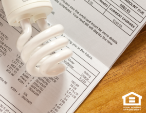 Lightbulb Sitting on an Electric Bill For a Buhl Rental Home