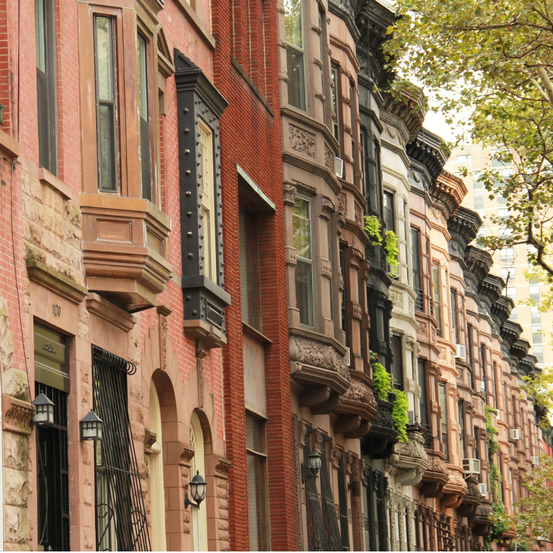 Row of brownstones in New York