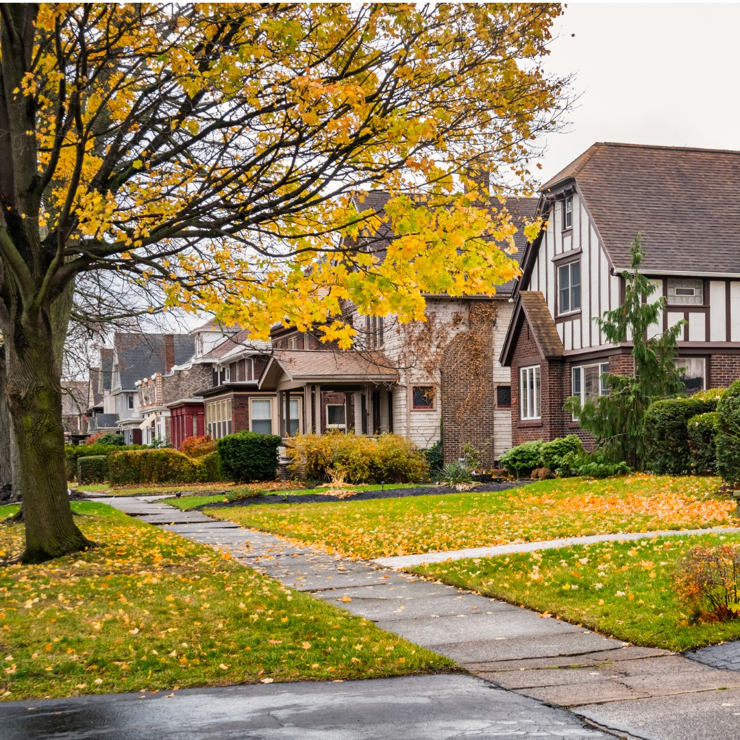 Row of homes in New York during autumn