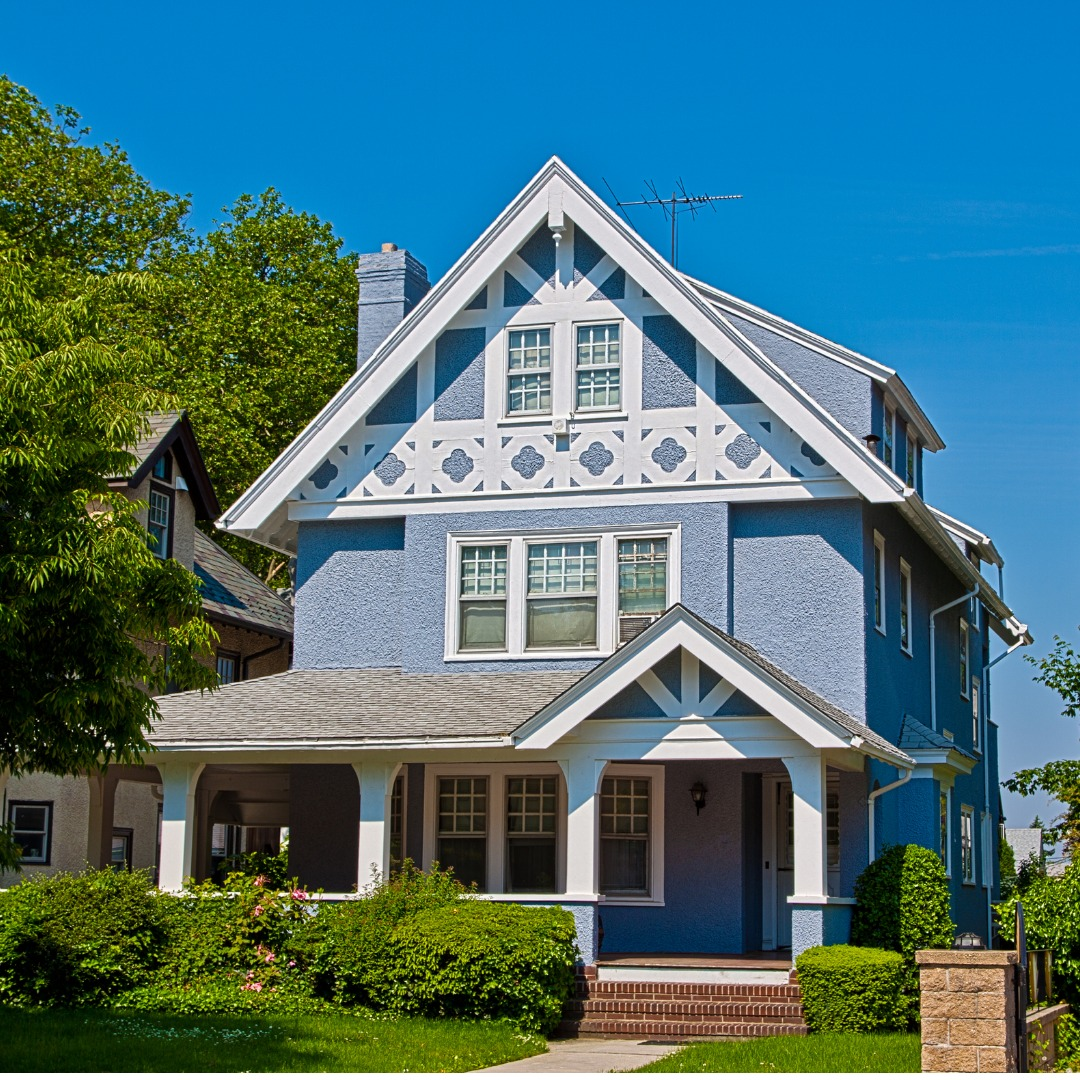 Sky Blue Home with White Trim in New York