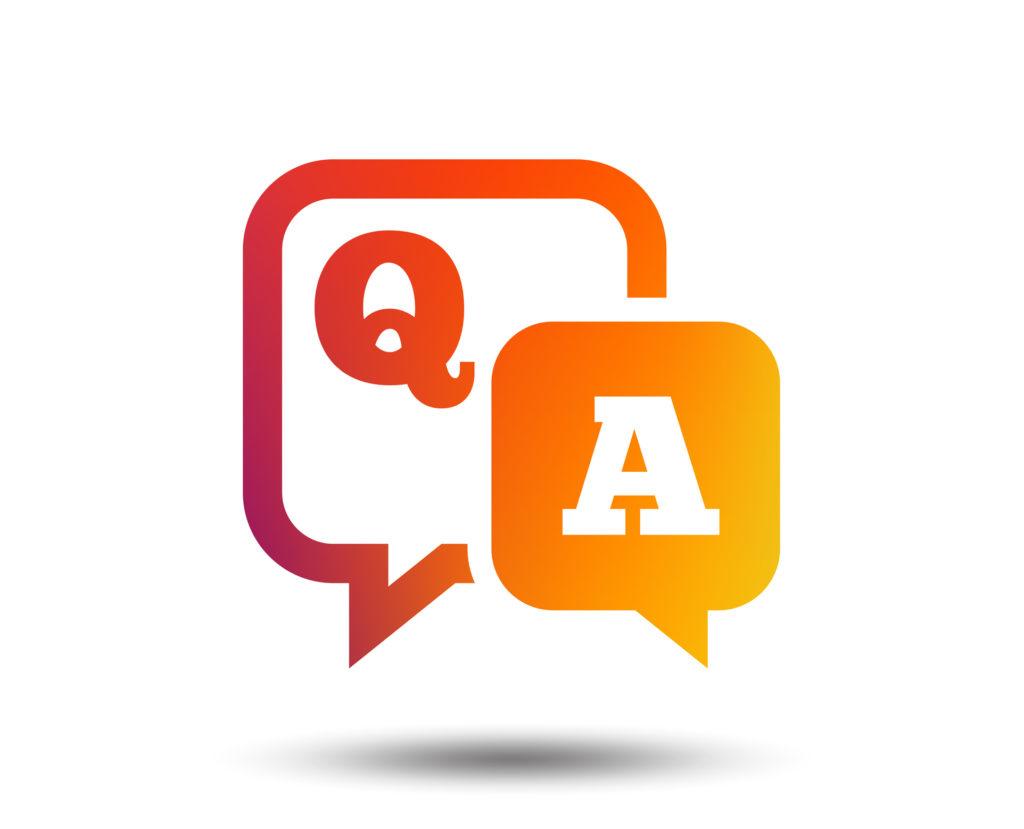 Question answer sign icon. Q&A symbol. Blurred gradient design element. Vivid graphic flat icon.