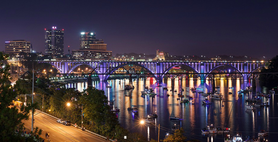 Knoxville Tennesee Night View of the Cityscape