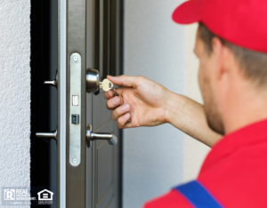 Professional Locksmith Re-keying a Moorhead Rental