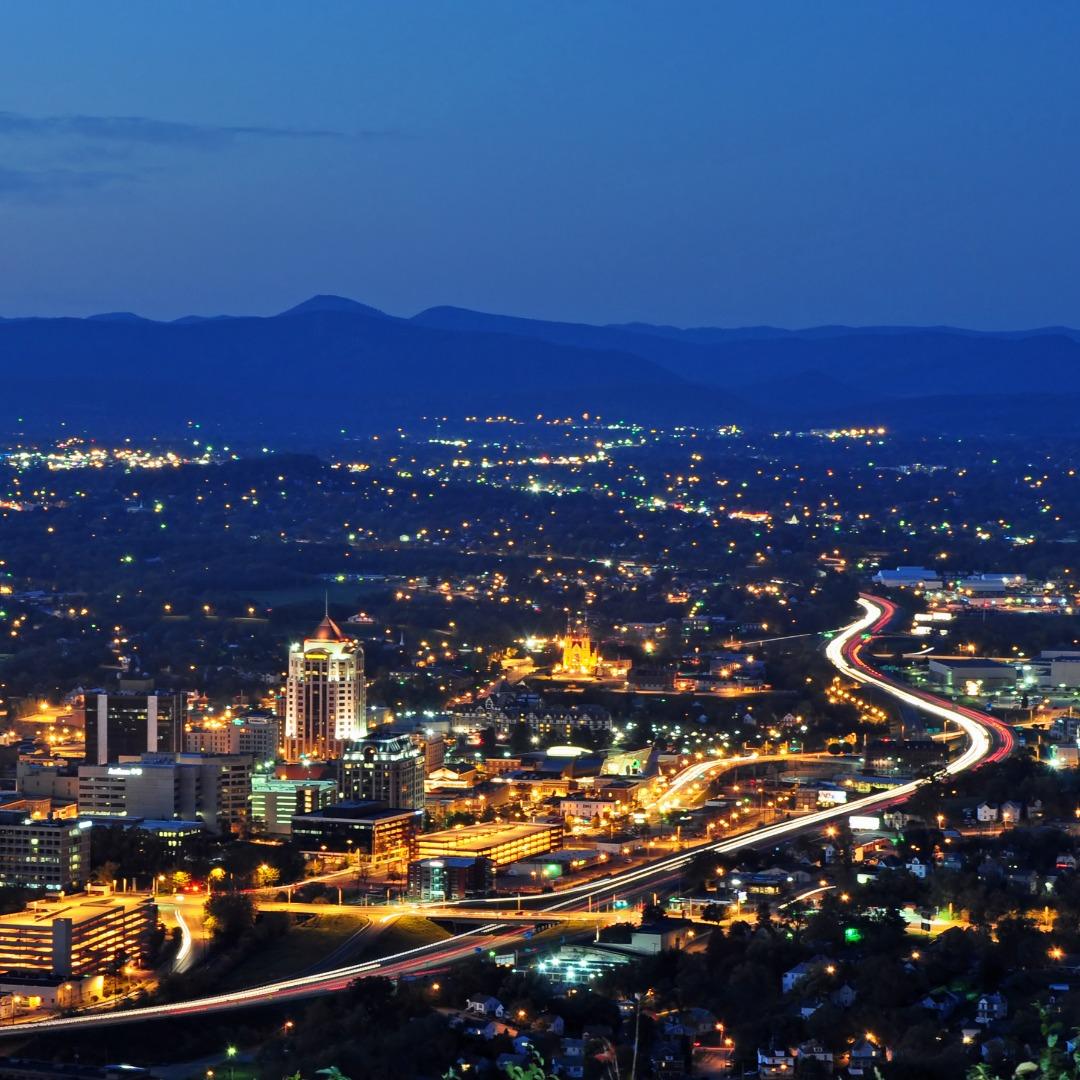 Roanoke, Virginia, at night